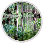 Reflection Of Cypress Trees Round Beach Towel