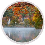 Reflection Of Fall Round Beach Towel