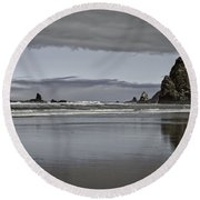 Reflection Of Hay Stack Round Beach Towel