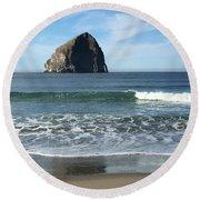 Reflection Of Haystock Rock  Round Beach Towel