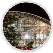 Reflection Of Navy Pier Ferris Wheel Round Beach Towel