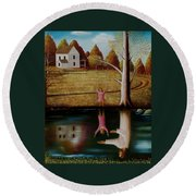 Reflection Of Protection. Round Beach Towel