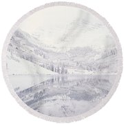 Reflection Of Snowcapped Mountains Round Beach Towel