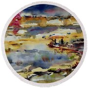 Reflection Of Sunset Glow Round Beach Towel