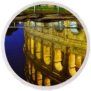 Reflection Of The Colosseum Round Beach Towel