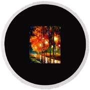 Reflection Of The Night  Round Beach Towel