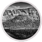 Reflection Of Wizard Island Crater Lake B W Round Beach Towel