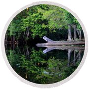 Reflection Off The Withlacoochee River Round Beach Towel