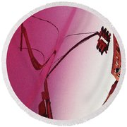 Reflection On A Red Automobile Round Beach Towel