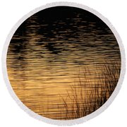 Reflection On A Sunset Round Beach Towel