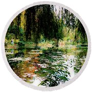 Reflection On Oscar - Claude Monet's Garden Pond Round Beach Towel