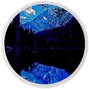Reflection On String Lake Round Beach Towel