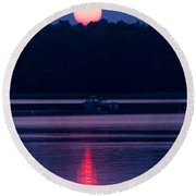 Reflection On The Bay Round Beach Towel