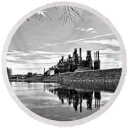 Reflection On The Lehigh Round Beach Towel by DJ Florek