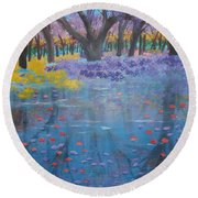 Reflection Pond Japan Round Beach Towel