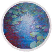 Reflection Pond With Liles Round Beach Towel