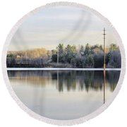Reflections Across The Water Round Beach Towel