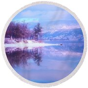 Reflections Along Highway 97 Round Beach Towel