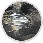 Reflections And Dark Ice #2  Round Beach Towel