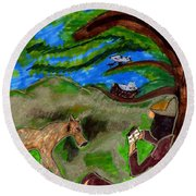 Reflections And Prayer Of St. Francis Round Beach Towel