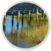 Reflections And Sea Grass Round Beach Towel