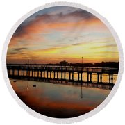Reflections At Sunrise  Round Beach Towel