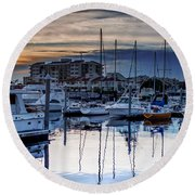 Reflections At Sunset Round Beach Towel