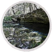 Reflections At The Grotto Round Beach Towel