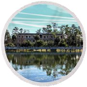 Reflections At The Lake Round Beach Towel