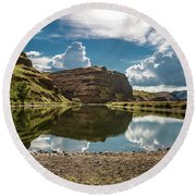 Reflections At The Pond Round Beach Towel