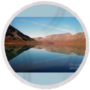Mountains Reflected On A Beautiful Lake Round Beach Towel