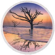 Reflections Erased - Botany Bay Round Beach Towel