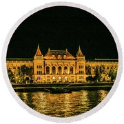 Reflections From Budapest University Round Beach Towel