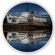Reflections From The Duke Of Lancaster Ship  Round Beach Towel