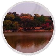 Reflections In A Lake Round Beach Towel