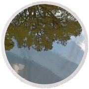 Reflections In A Lake - Poster Edges Round Beach Towel