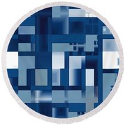 Reflections In Blue Round Beach Towel