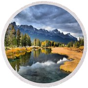Reflections In Canmore Round Beach Towel