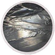 Reflections In Dark Ice 3 Round Beach Towel
