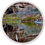 Reflections In Desert River Canyon Round Beach Towel