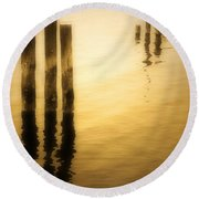 Reflections In Gold Round Beach Towel