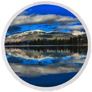 Reflections In Lac Beauvert Round Beach Towel