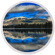 Reflections In Lake Beauvert Round Beach Towel