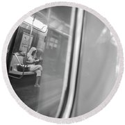 Reflections In New York City Subway Round Beach Towel by Ranjay Mitra