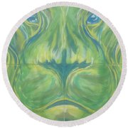 Reflections In The Lions Eyes Round Beach Towel