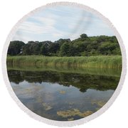 Reflections In The Marsh Round Beach Towel