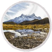 Reflections In The Pond Round Beach Towel