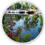 Reflections In The Pool Round Beach Towel