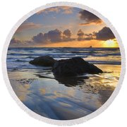 Reflections In The Sand Round Beach Towel