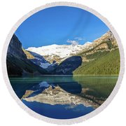 Reflections In The Water At Lake Louise, Canada Round Beach Towel